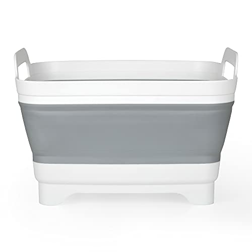 Edaygo Spülschüssel Waschschüssel Faltschüssel Camping Schüssel, Faltbar, 5 Liter, hochwertiger Kunststoff & Silikon, 30,5 x 30 x 20...