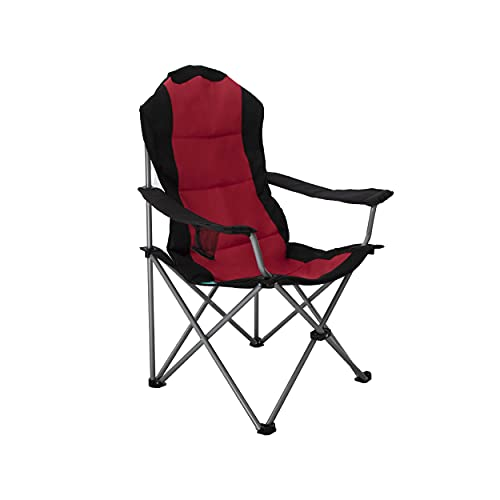 HOMECALL Klappbarer Campingstuhl mit Becherhalter - Schwarz/Rot
