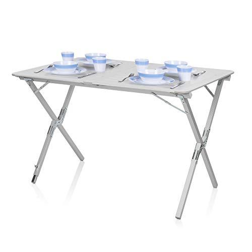 Campart Campingtisch/Reisetisch-110x70 cm wetterbeständige Rolltischfläche aus Aluminium/mit mitgelieferte Transporttasche,TA-0802