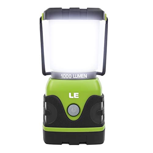 LE LED Campinglampe, Ultra Hell 1000 Lumen, 4 LeuchtmodiI Dimmbar Suchscheinwerfer, Batteriebetrieben Notfallleuchte für Stromausfällen,...
