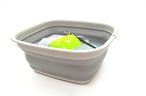SAMMART 7,7L Collapsible Tub - Foldable Dish Tub - Portable Washing Basin - Space Saving Plastic Washtub (Grau, Klein)