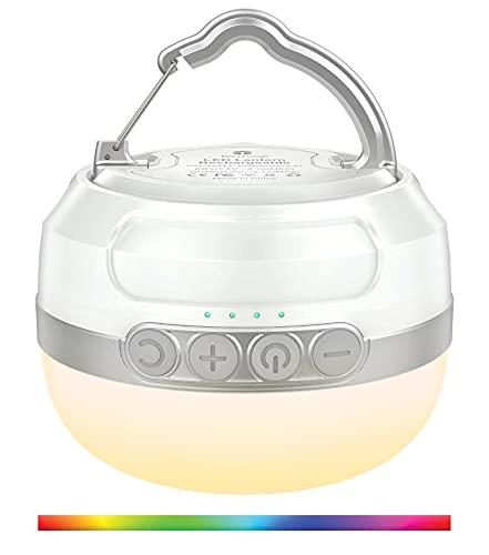 Campinglampe, RGB Nachtlicht, LED Camping Laterne mit Taschenlampe, Campingleuchte mit 5200mAh USB Wiederaufladbar, 6 Leuchtmodi Stufenlos...