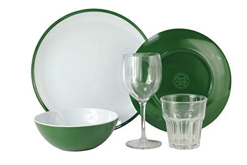 Campinggeschirr Melamingeschirr-Set 5-teilig 1-Person Kampa Fern-Green Essgeschirr inkl.Wein und Wasserglas