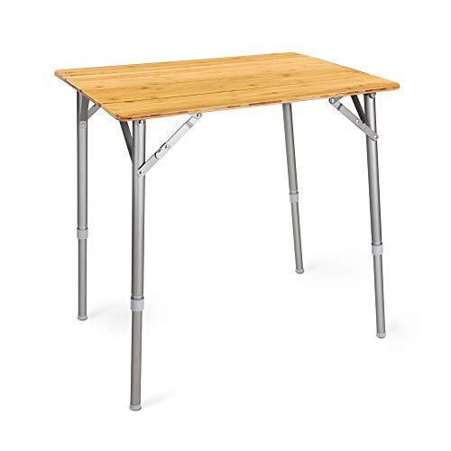 Navaris Bambus Campingtisch faltbar - Klapptisch belastbar bis 30kg für Outdoor Camping Angeln - Tisch Aluminium Beine - klappbar...