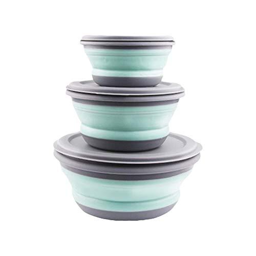 BSTCAR 3 Stück Schüssel Faltbar, Faltbare Schüssel Tragbare Frischhaltedosen mit Deckel Silikon,Faltschüssel Camping Wandern Küche...