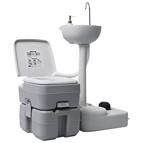 vidaXL Campingtoilette Handwaschbecken Set Tragbar Kolbenpumpe Fußpumpen-Design Mobile Chemietoilette WC Eimer Reise Klo Toilette...