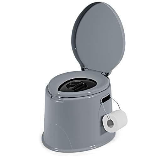 COSTWAY Campingtoilette tragbar, Reisetoilette grau, Mobile Toilette mit abnehmbarem Eimereinsatz, mit Toilettenpapierhalter, für Camping,...
