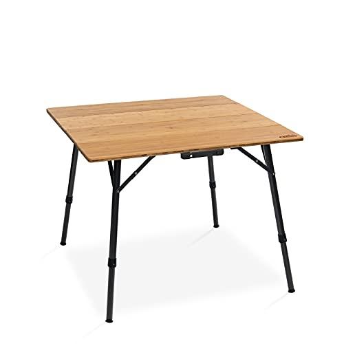 Qeedo Kimmy M, Campingtisch mit Bambus Tischplatte, 90 x 90 cm, Höhenverstellbar
