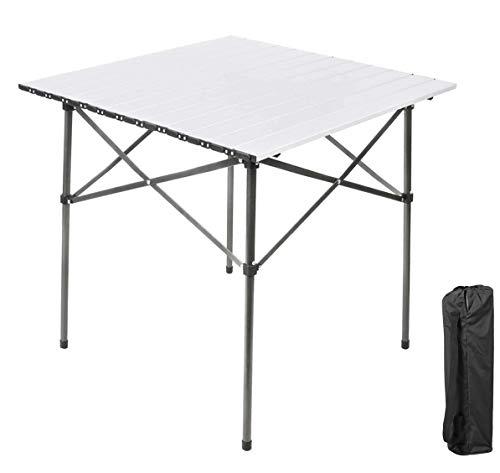 EVER ADVANCED Campingtisch Klapptisch mit Aluminium Tischplatte faltbar leicht klappbar tragbar mit Tragetasche 70 x 70cm für Camping...
