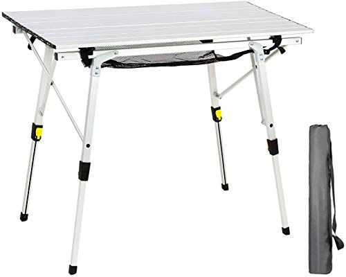 EVER ADVANCED Aluminium Campingtisch klappbar Klapptisch faltbar tragbar leicht Falttisch Tischbein Höheneinstellbar Tischplatte Größe...