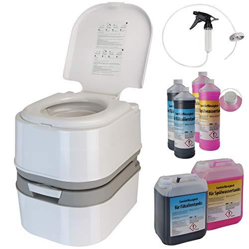 Montafox Campingtoilette 24 Liter - Optional erhältlich: Sanitärflüssigkeiten und Reinigungsspritze - WC