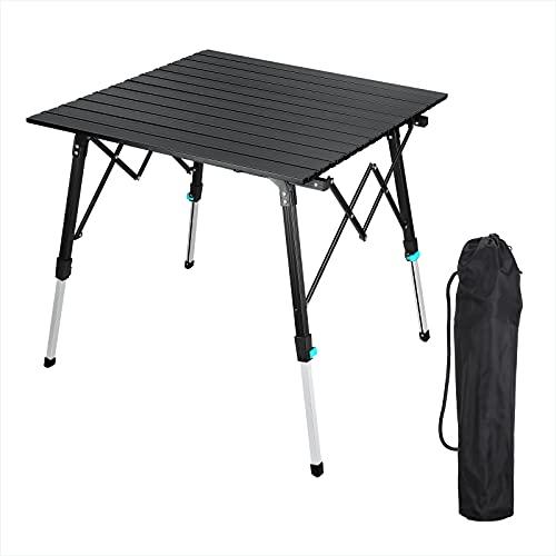 Synlyn Tragbar Campingtisch Klapptisch Faltbar Gartentisch Aluminium Falttisch Camping Tisch Ultra Leichte mit Tasche 70 x 70cm...