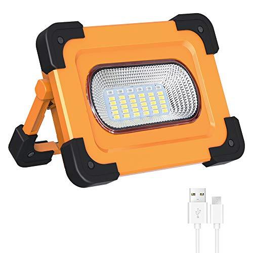 60W LED Baustrahler Akku, Elekin LED Strahler Arbeitsscheinwerfer Arbeitsleuchte mit 4 modi, Solar Campinglampe COB Flutlicht 4800mAh...