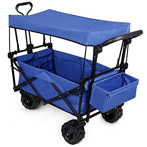 Bollerwagen Strandwagen Klappbar mit Dach Breiten Geländerädern Metallrahmen, bis 50KG, faltbar Transportwagen Handwagen Gartenanhänger...