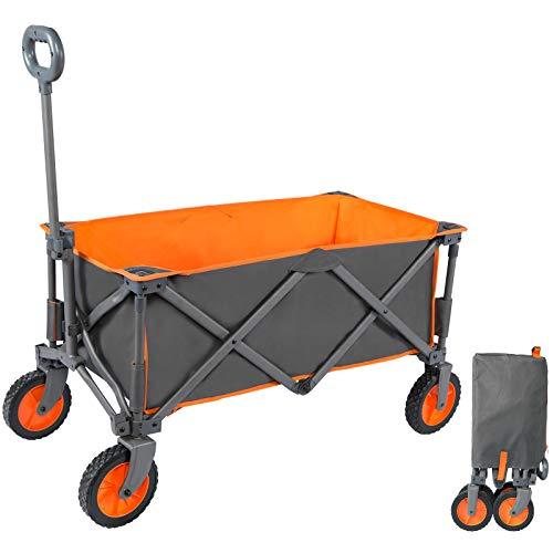 Portal Bollerwagen faltbar Gartenwagen klappbar für Camping Garten Stand Einkauf orange