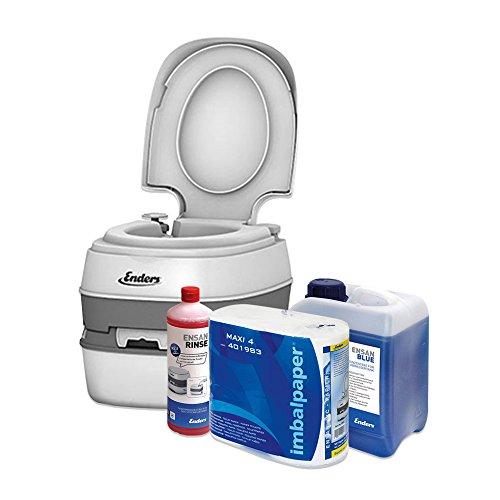 Enders Campingtoilette Starter-Set Blue 2,5 Liter Comfort 4945 inkl. Sanitärflüssigkeit und WC Papier - Mobile Chemietoilette Campingklo...