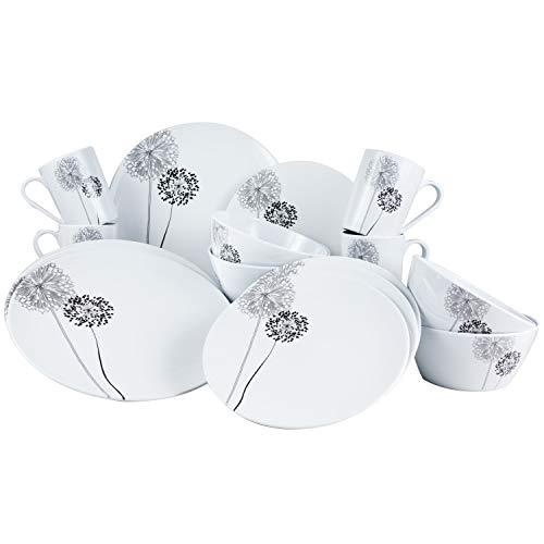 Melamin Geschirr Set 4 Personen - 16 Teile - ideal für Camping je 4 Teller 4 Dessertteller 4 Schale 4 Becher weiß/schwarz rund Essgeschirr...