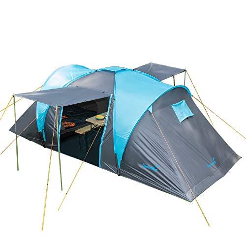 Skandika Kuppelzelt Hammerfest für 4 Personen | Campingzelt mit 2 m Stehhöhe, 2 Schlafkabinen, 2 Eingänge, Moskitonetze, Sonnendach, 2000...