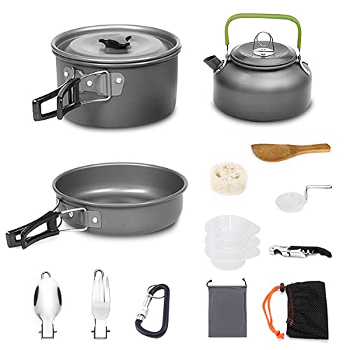 AUTOPkio Camping Kochgeschirr Set, Portable Leichte Outdoor Kochset Kochtopf Pan Set für 2-3 Persone (Schwarz)