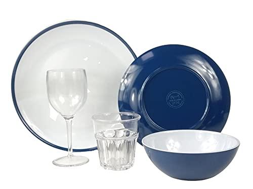 Campinggeschirr Melamingeschirr-Set 5-teilig 1-Person Kampa Midnight Blue Essgeschirr inkl.Wein und Wasserglas