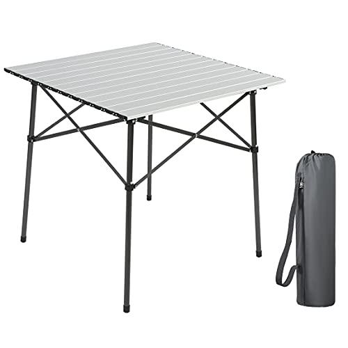 EVER ADVANCED Campingtisch Klapptisch mit Aluminium Tischplatte faltbar klappbar tragbar mit Tragetasche 70 x 70cm für Camping Garten Party...