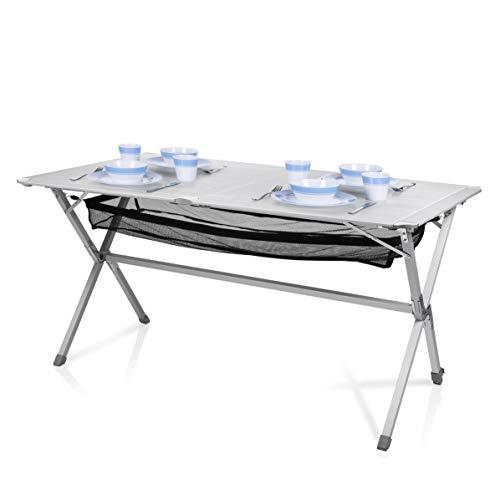 Campart Campingtisch/ Reisetisch - 140 x 80 cm wetterbeständige Rolltischfläche aus Aluminium/ mit Verstaunetz und Transporttasche,...