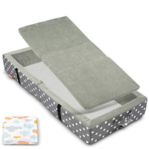 Milliard - Tragbares Kleinkindbett mit Weichen Seiten - Zusammenklappbar zum Reisen - Matratze Misst 122 x 50 cm