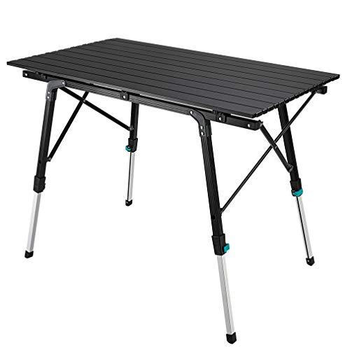 Synlyn Tragbar Campingtisch Klapptisch 90 x 52 x (45-67) cm Aluminium Camping Tisch Falttisch Reisetisch für Camping Outdoor Picknick BBQ...
