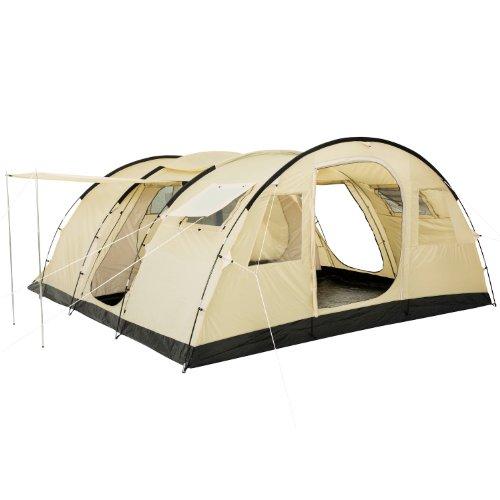 CampFeuer Tunnelzelt Caza Zelt für 6 Personen | riesiger Vorraum, 5000 mm Wassersäule | vernähter Boden und versiegelte Nähte |...