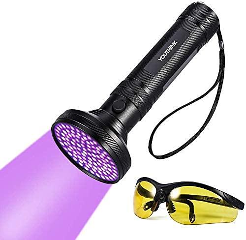 YOUTHINK LED UV Lampe Taschenlampe Schwarzlicht 100 LEDs 395nm Ultraviolet Lampe mit UV-Schutzbrille Mini Ultraviolett Licht Urin Detektor...