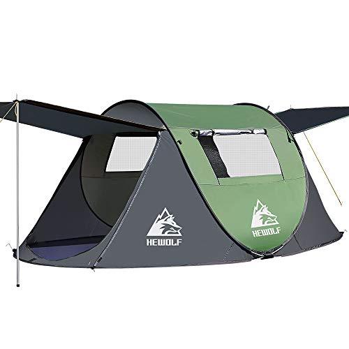 HEWOLF Wurfzelt 2-3 Personen Pop Up Camping Zelt mit Vorzelt Automatik Ultraleichtes Familienzelt Sekundenzelt Sonnenschutz Cabana Zelt für...