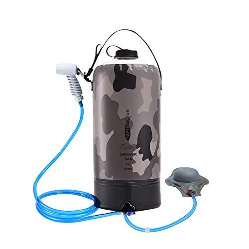 HoneybeeLY Campingdusche, 10L Tragbare Solardusche mit Verbessertem Schraubdeckel, Druckfußpumpe und Düse, Tragbare Dusche für Camping,...