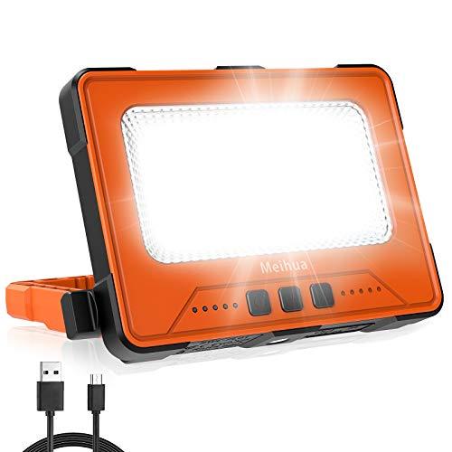 30W LED Arbeitsstrahler Akku, LED Baustrahler Wasserdicht, Tragbare Wiederaufladbare Campinglampe, 4 Lichtmodi, 2 Ladenmethoden, für...
