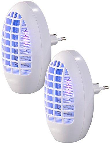 Exbuster Mückenstecker: 2er-Set Steckdosen-Insektenvernichter mit UV-Licht, für Räume bis 20m² (Mückenlicht)