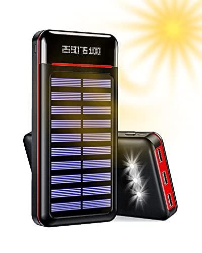Aikove Solar Powerbank 25000 mAh, Handy Solar Ladegerät, externer Akku mit DREI USB-Ausgängen und Zwei Eingängen (Micro & Type-C) und...