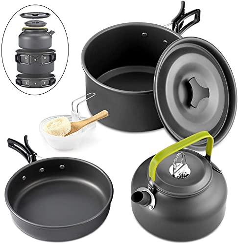 Queta 10-Teilig Cookware Kit Picknick Töpfen Kochgeschirr Campinggeschirr Set für 2-3 Personen Zum Camping Outdoor Wandern Picknick BBQ,...