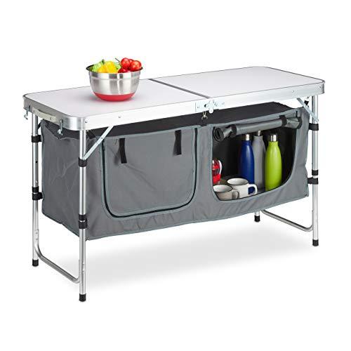 Relaxdays Campingtisch klappbar, höhenverstellbar, stabil, Campingschrank, Aluminium & MDF, BxT 120 x 62 cm, Silber/weiß