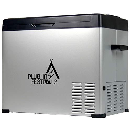PLUG IN FESTIVALS ® Kompressor Kühlbox 12V 230V | [50 Liter] elektrische Kühlbox | Camping Kühlschrank | Kühlbox Auto oder LKW