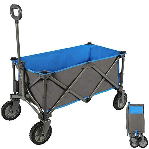 Portal Bollerwagen faltbar Gartenwagen klappbar für Camping Garten Stand Einkauf blau