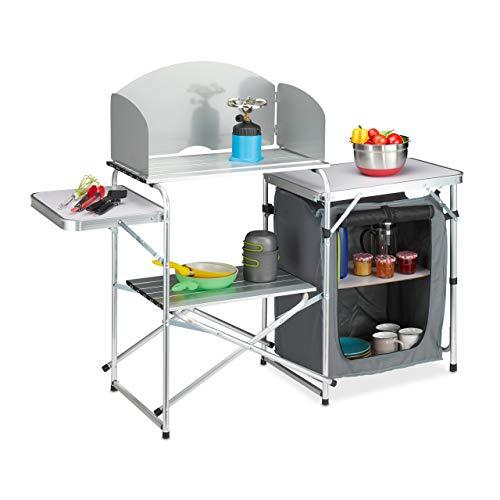 Relaxdays Campingküche mit Windschutz, klappbar, Tragetasche, Campingschrank, Alu & MDF, HBT: 111x147x46 cm, weiß-grau