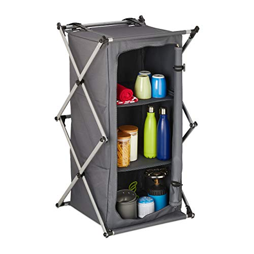 Relaxdays Campingschrank faltbar, Campingregal mit 3 Ablagen, tragbar, Klappschrank Outdoor, HBT: 93 x 54 x 54 cm, grau