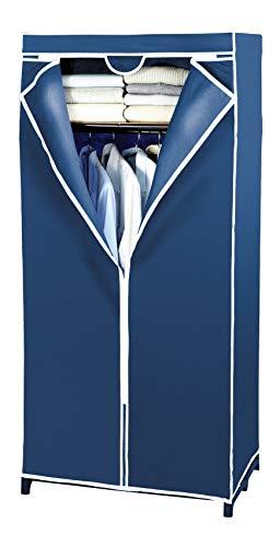WENKO Kleiderschrank Air mit Ablage - Stoffschrank, Faltschrank, Polypropylen, 75 x 160 x 50 cm, Blau