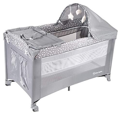 Moby-System, 2 in 1 Reisebett & Laufstall Spiel für Baby/2 Matratzen (oben 0 – 6 Monate, unten 6 – 36 Monate), faltbar,...