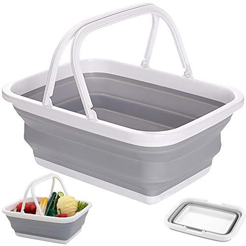 Faltbare Einkaufskorb mit Griff Tragbarer Picknickkorb Multifunktionale Zusammenklappbare Spülen zum Waschen Von Geschirr Wandern Familie