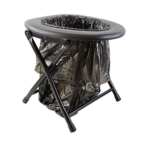 Keepa Klappbare Camping Outdoor Toilette schwarz inkl. Müllsäcke und praktischem Befestigungsring