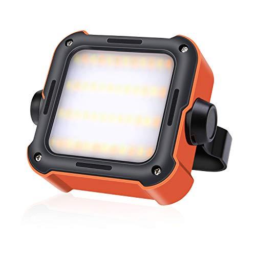 efluky LED Arbeitsleuchte Akku Tragbar Outdoor Campinglampe USB Wiederaufladbare Akku Strahler Notfallleuchtemit 10000mAh Powerbank und 15...