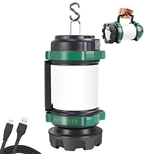 JAMIEWIN Campinglampe Aufladbar 4000mAh, Tragbare LED Camping Lampen mit Warnlicht 6 Beleuchtungsmodi Handscheinwerfer Wasserdicht Camping...