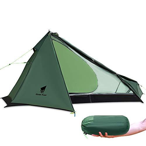 GEERTOP Upgrade Ultralight 3 Season 1 Personenzelt für Camping Backpacking Wandern Reisen - Zelte mit einem Trekkingstock (ohne den Stab)...