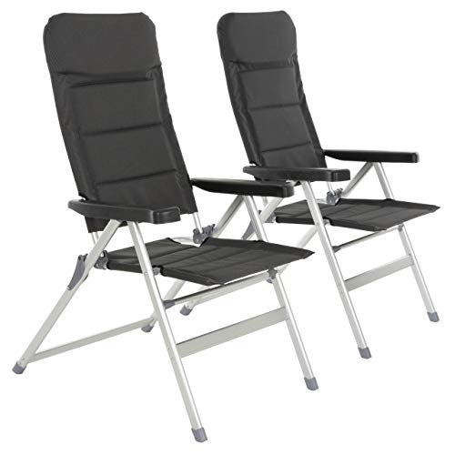 Nexos 2er Set Premium Klappstuhl Relax-Stuhl Campingstuhl Klappsessel – für Garten Terrasse Balkon – klappbarer Gartenstuhl gepolstert...