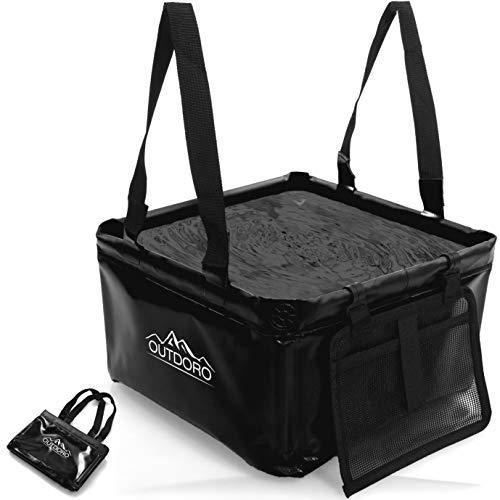 Outdoro Faltschüssel Groß - 16 Liter - Inklusive Zusatz-Tasche - Langlebiges Planen-Gewebe - Faltbare Waschschüssel für Camping und...